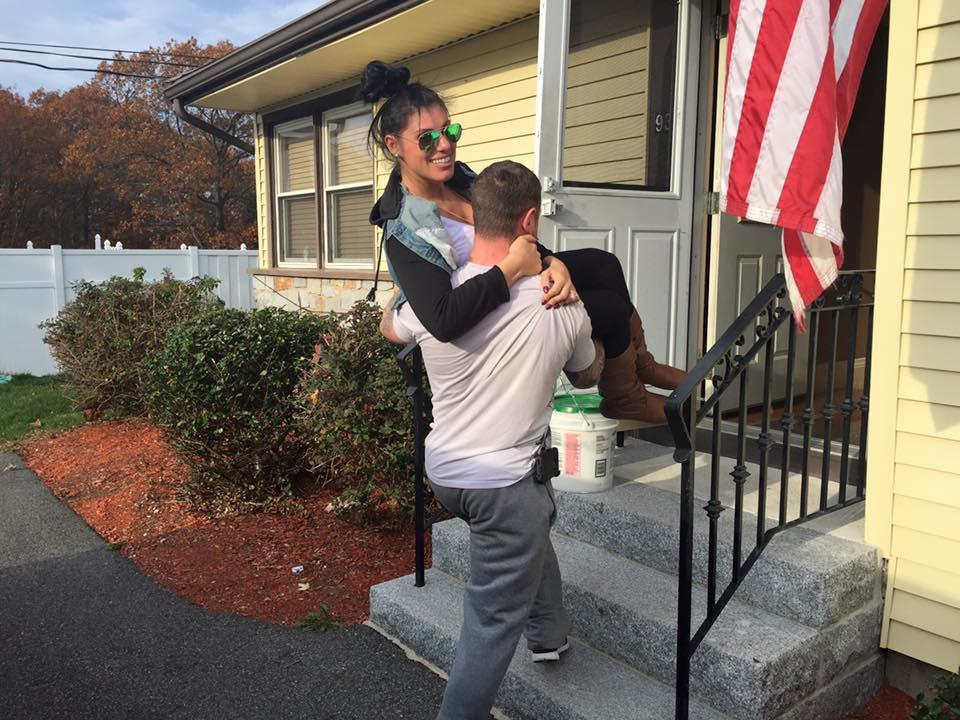 Andrew MacCormack carried his wife, Vanessa, into their Revere home in 2015.